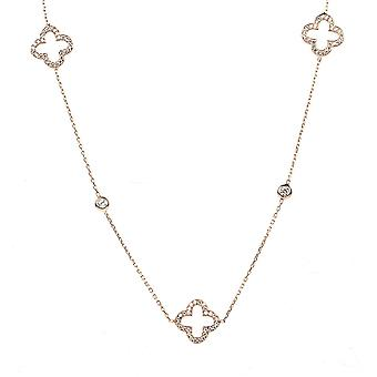 Latelita Sterling Silver Rose Gold Long Open alhambra Clover Necklace CZ 90cm