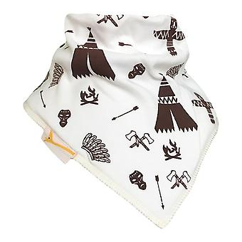White & brown tribe bandana bib