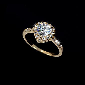 18K Gold Plated Micro Cubic Zircoina Heart Ring