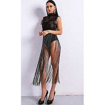 Black fringe bodysuit dress