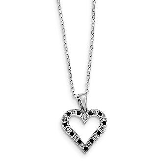 925 Sterling Silver Polished Gift Boxed Spring Ring Platinum-plated Diamond Mystique B and W Dia. 18inch Heart Necklace