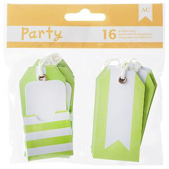 DIY Party Pocket Tags 16pcs-Green & White 369834