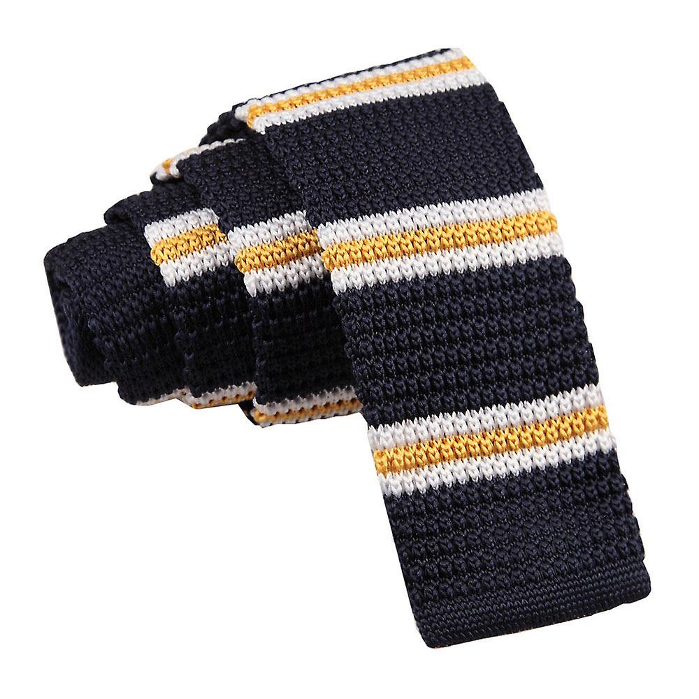 Knitted Navy with Yellow & White Thin Stripe Tie