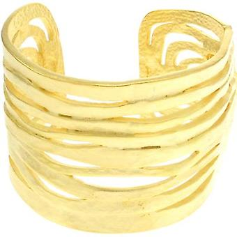 Kenneth Jay Lane Satin Gold Wave uitgesneden Manchet armband Bangle