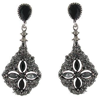 Clip-Ohrringe-Store, die Clip-Antik Silber & Hämatit Crystal Teardrop auf Ohrringe
