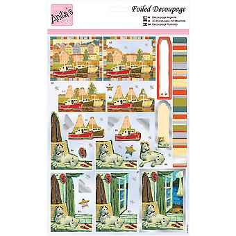 Anita's A4 Foiled Decoupage Sheet-Harbourside A169644
