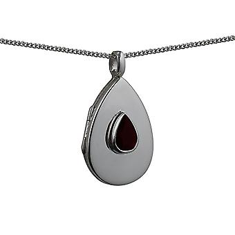 Silver 28x19mm plain Garnet set flat teardrop Locket with a curb Chain 18 inches