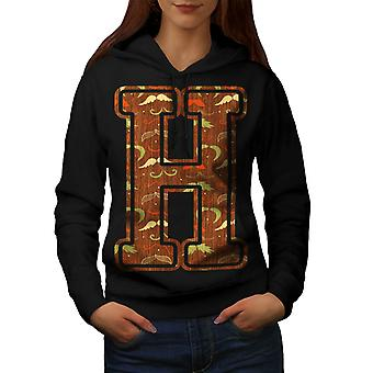 Letter H Hipster Fashion Women Black Hoodie | Wellcoda