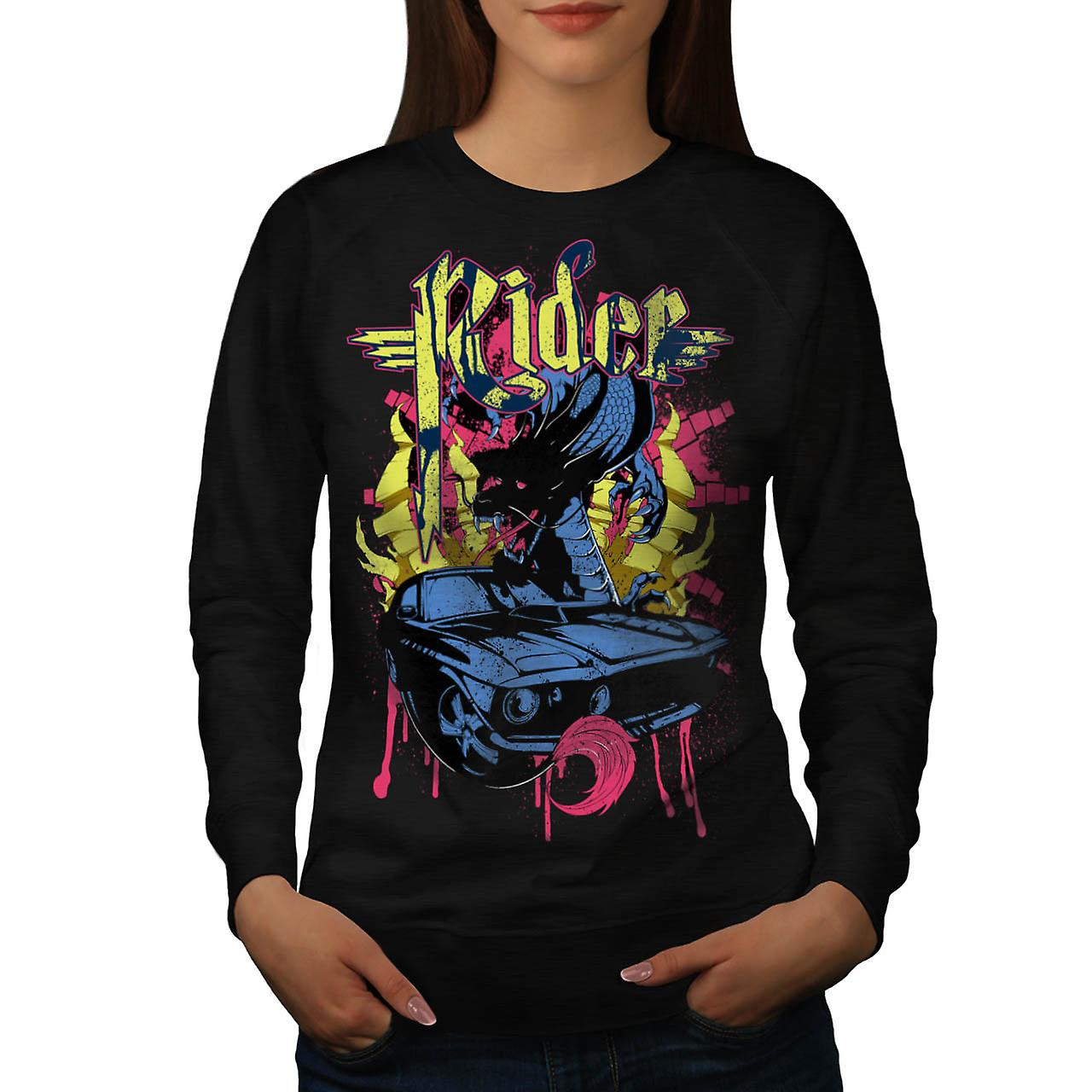 Dragon Motor Car Ride Automobile Women Black Sweatshirt | Wellcoda