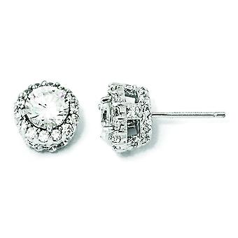Sterling Silver CZ Round Post Earrings