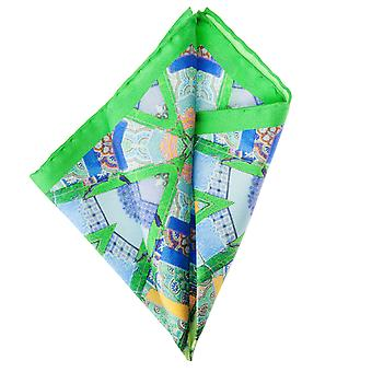 Pellens & Loïck men's handkerchief Hanky Cavalier cloth silk green patterned fabric
