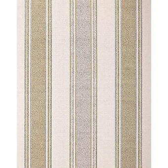 Stripe wallpaper EDEM 508-20 foam vinyl wallpaper structured in textile design and metallic effect light ivory perl-gold silver 5.33 m2