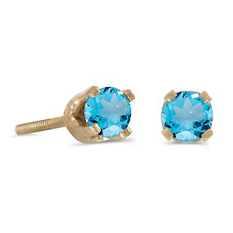 14k Petite Yellow Gold Round Blue Topaz Children's Screw-back Stud Earrings