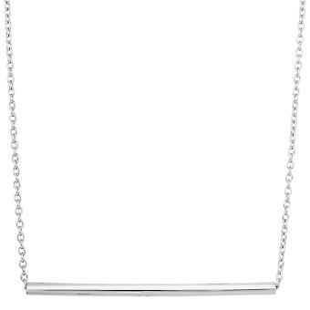 Sterling Silver Sideways Cylinder Bar Pendant Necklace, 18