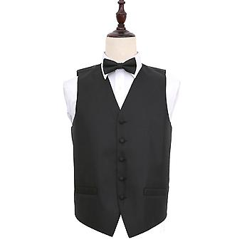 Greek Key Black Wedding Waistcoat & Bow Tie Set