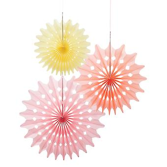 Papir Fan dekorationer x 3 - Pink / gul - Wedding Party Dekorationer