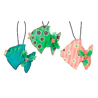 Deep Blue Ocean Tropical Fish Metal Ornaments Set of 3