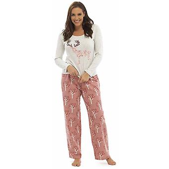Ladies Foxbury Animal Print Jersey Top Long Pyjama Set pajama Sleepwear