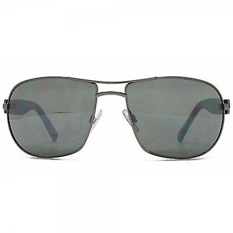 French Connection Large Metal Pilot Sunglasses In Dark Gunmetal