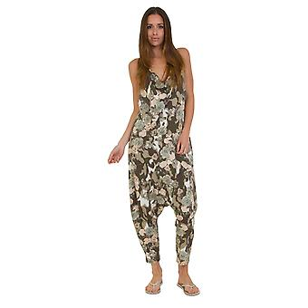 Jersey Jumpsuit - Floral Green Drop Crotch Lightweight Stretch Relaxed Fit Plays