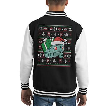 Weihnachten Bisasam Stricken Muster Pokemon Kid Varsity Jacket