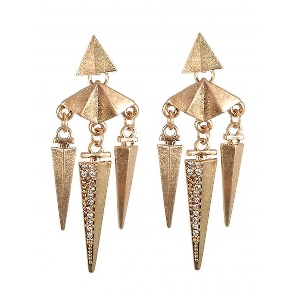 W.A.T Gold Style Aztec Crystal Spike Fashion Earrings