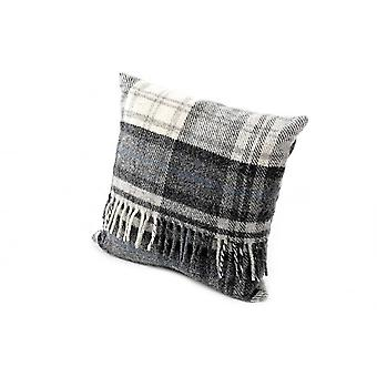 Tweedmill Pure New Wool Check Cushion - Cottage Grey 40cm X 40cm