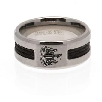 Newcastle United Black Inlay Ring Small