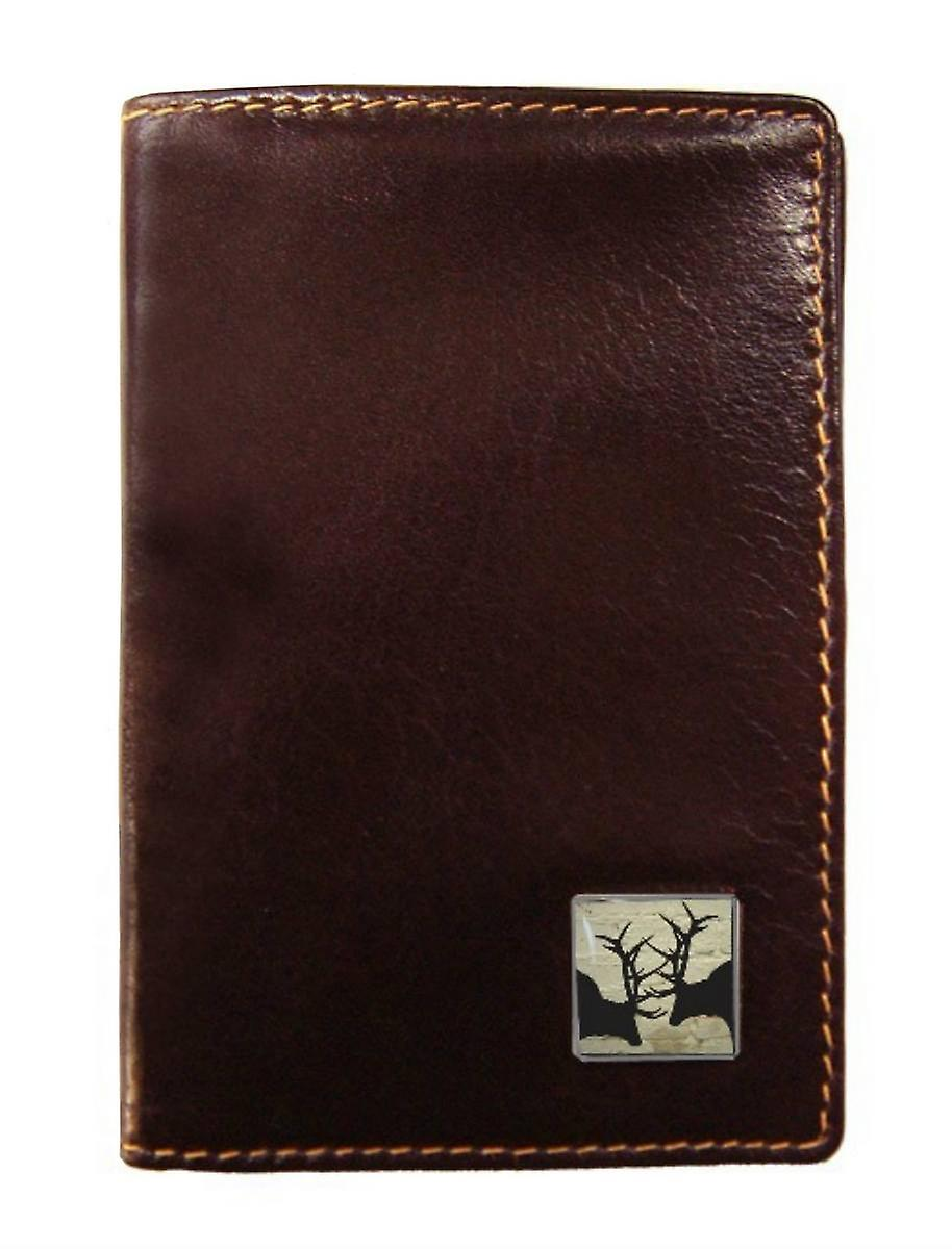 Tyler and Tyler Leather Rutting Stags Travel Card Holder  - Brown