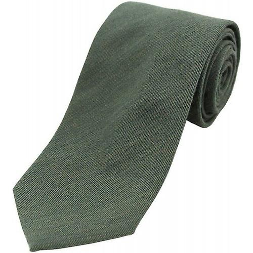 David Van Hagen Plain Wool Rich Tie - Country Green