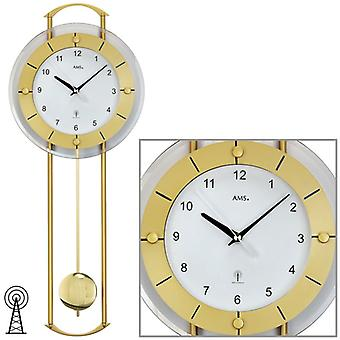 Wall clock clock radio clock pendulum clock in mineral glass metal 24 x 60 cm AMS