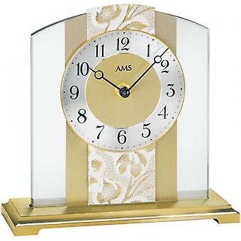 Table clock, quartz table clock in mineral glass brass leather floral Edition AMS