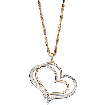 Heart 925 Silver Gold gold plated pendant bicolor with cubic zirconia heart pendant