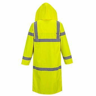 Portwest - Hi-Vis sikkerhet Workwear X-lange vanntett hette regn frakk 122cm lang