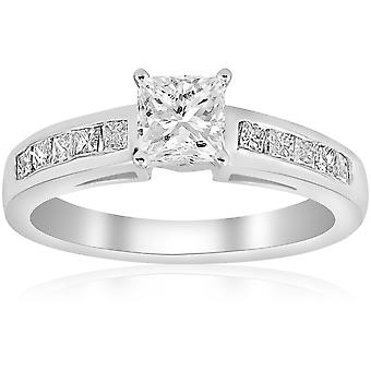 1 1/4ct Princess Cut Diamond Engagement Ring 3/4ct ctr 14K White Gold