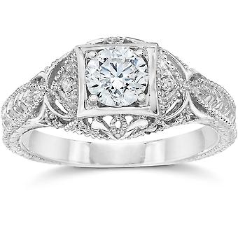 Emery 5/8Ct Vintage Diamond Antique Engagement 14K White Gold
