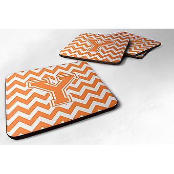 Set van 4 Letter Y Chevron oranje en wit schuim onderzetters Set van 4