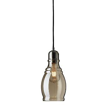 Olsson Chrome Bottle Pendant With Amber Glass - Searchlight 3604am
