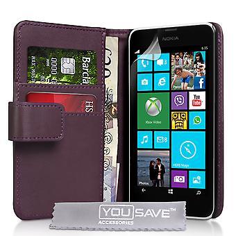 Nokia Lumia 630 Lederoptik Wallet Case - lila