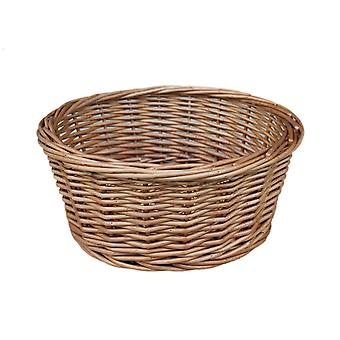 Light Steamed Round Wicker Tray