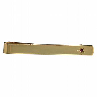 Hard Gold Plated 6x55mm star set Ruby Tie Slide