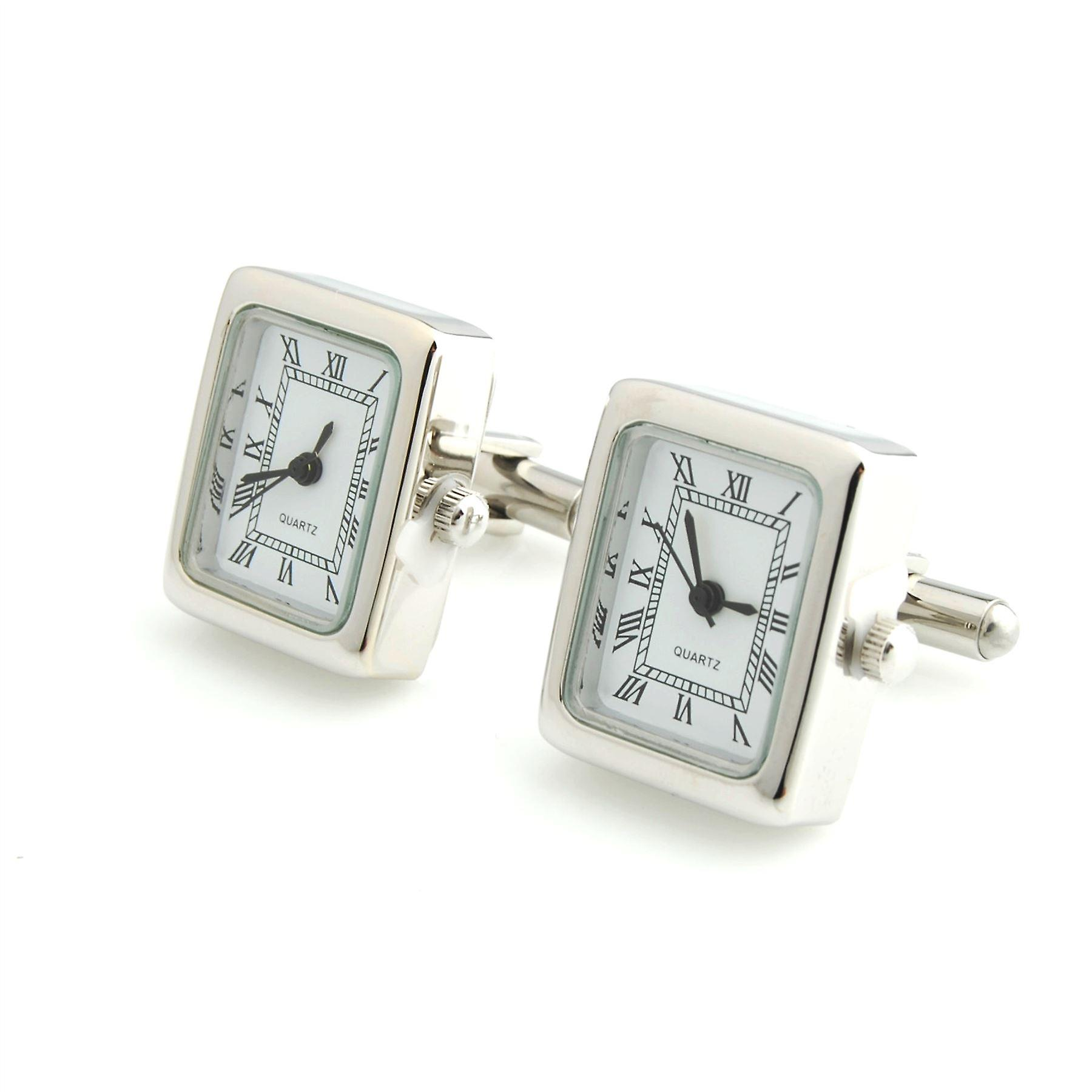 Mens Ladies Working Silver Tone Square Clock Watch Cufflinks Wedding Formal Business