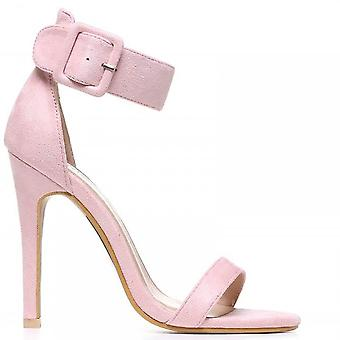 Shoe Closet Ladies Light Pink ED97 Stilettos Ankle Strap Peep Toes Strappy Sandals High Heels