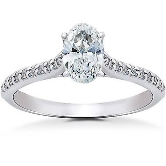 1 1 / 4ct anel de noivado de diamante Oval Solitaire 14K ouro branco