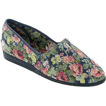 Mirak damer Patricia Slip-On Cotton Flower Print toffel Royal