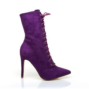 SPRING Purple Faux Suede Lace Up Peep Toe High Heel Ankle Boots