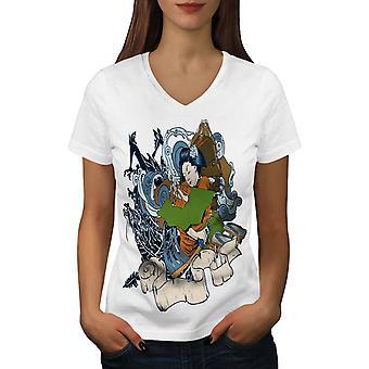 Sea Fantasy Japanese Art Women WhiteV-Neck T-shirt   Wellcoda