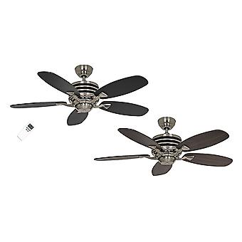 Energy-saving ceiling fan Eco Gamma Walnut / Black with remote control in different sizes