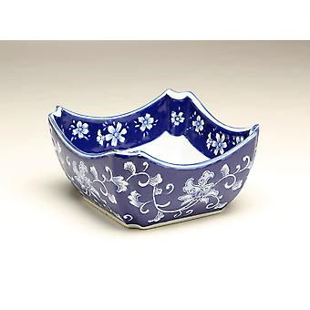 AA Importing 59940 10 Inch Square Blue & White Bowl