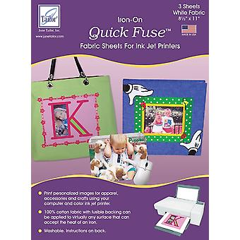 Quick Fuse Iron-On Ink Jet Fabric Sheets 8.5